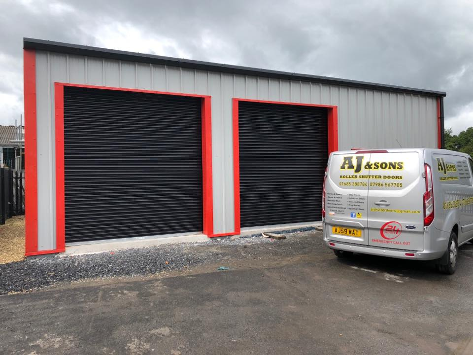 Industrial black shutter doors