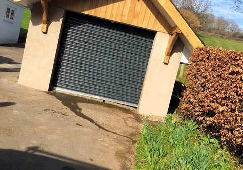 Grey roller shutter for garage