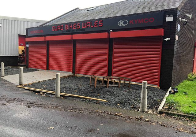 Robust red commercial shutters